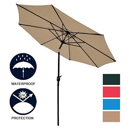 Sunnyglade 9 Patio Umbrella Outdoor Table Umbrella with 8 Sturdy Ribs Tan