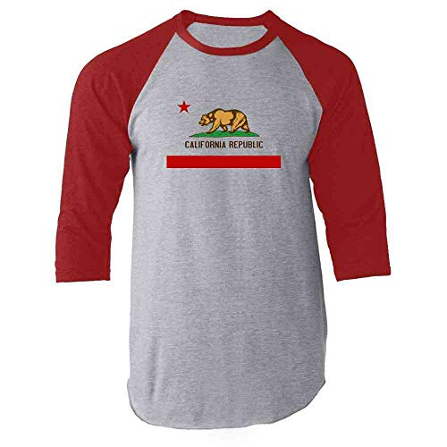 California Republic Calexit Flag Red M Raglan Baseball Tee Shirt