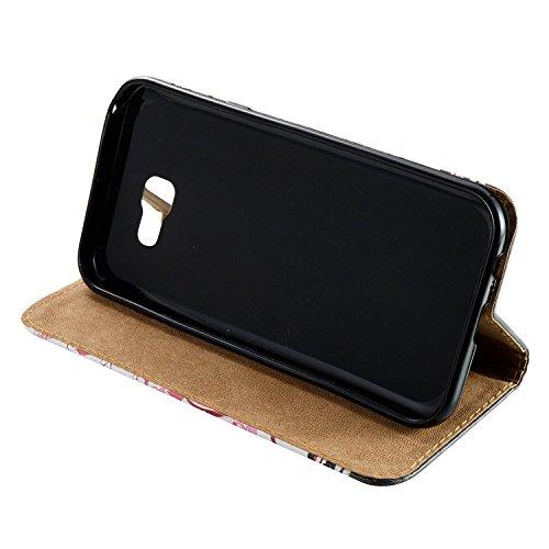 Vandot para Samsung Galaxy A7 2017 PU Funda Serie Bolsa Modelo Colorido con Bonito Hermoso Patrón de Impresión Dibujo Monedero de la Cartera de la Cubierta Móvil del Bolso del Teléfono Móvil del Prote FDQC 05