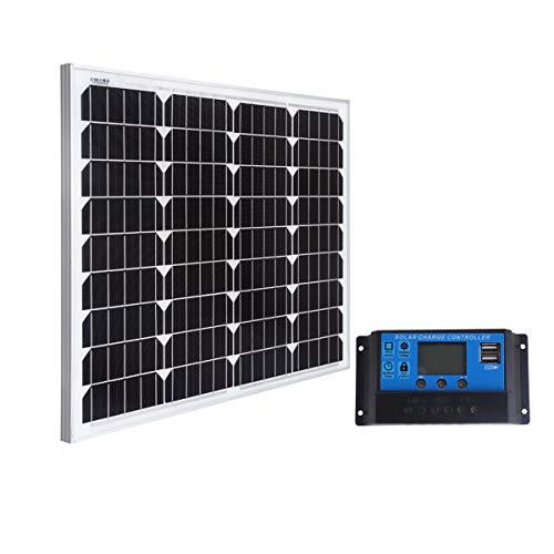 SARONIC 60W 12V Mono Solar Panel mit 0.9M MC4 Line für Caravan, Camper, Boat + 20A Solar Charger Controller