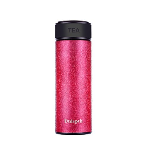 Tea Travel Mug - Dtdepth 15-Ounce Stainless Steel Vacuum Insulated Tea Bottle Mug With Removal Mesh Leaf Filter Strainer, Tea Infusing Water Bottle For Coffee Tea Lover, Student,Traveler - Rose Red