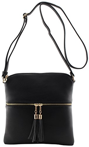 amp;Joey bag and Black adjustable with crossbody tassels strap medium Amy size shoulder dICqAnw