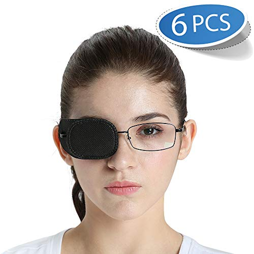 FCAROLYN 6pcs Eye Patch for Glasses (Normal Size, Black)