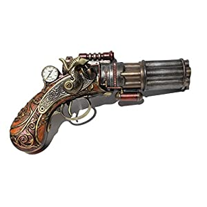 Steampunk 6 Barrel Dummy Pistol Statue 8.5 Inch Long