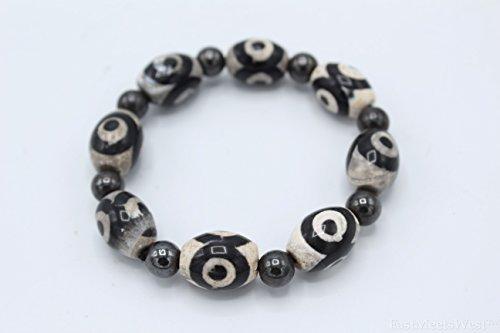 Tibetan 3 Eyed Dzi Beads Bracelet Lucky Feng Shui Protection Amulet