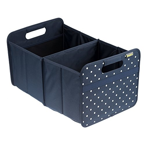 meori Classic Collection Large Foldable Storage Box, 30 Liter / 8 Gallon, in Marine Blue With Dots To Organize and Carry Up To 65lbs