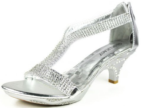 J.J.F Shoes Women Lety Silver Rhinestone T-Strap Evening Dancing Dress Low Heel Sandals-10