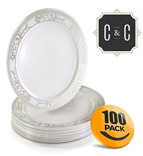 Plastic Dessert Plates 6 Inch - Fancy Plastic Dessert Plates ~ by Croft & Colony (100 Pack - Silver Filigree) - Filigree Rim