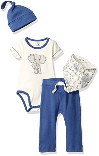Touched by Nature Baby Organic Layette Set 4-Piece, Elephant, 0-3 Months