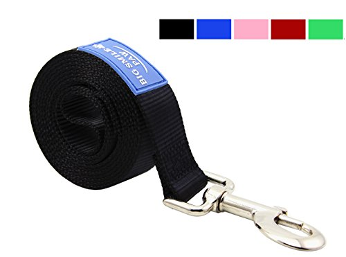 BIG SMILE PAW Dog Leash Nylon Durable Loop handle,5 Foot Long 1 Inch Wide (Black)