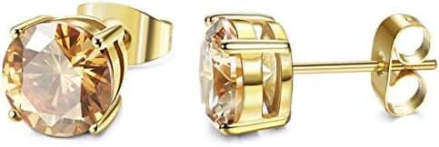 ORAZIO Stainless Steel Women Stud Earrings Mens Ear Piercing Cubic Zirconia Earrings