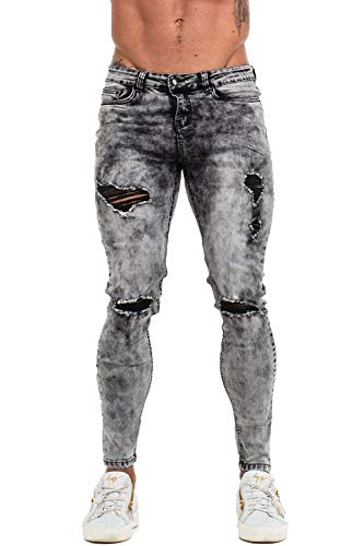 Mens Ripped Jeans Skinny Fit Stretch Denim Fashion Distressed Jeans Black 36