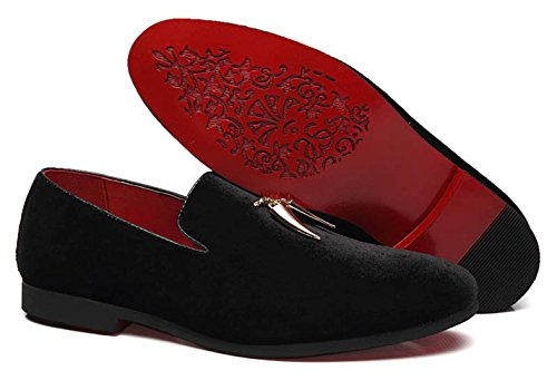 Santimon Loafers Shoes Men Fashion Slip on Metal Fringed Round Toe Velvet Smoking Slipper Moccasins Driving Shoes Black Blue Red Black 6oZKr