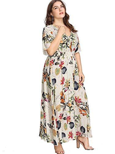 Milumia Women Plus Size Gypsy Maxi Garden Party Beach Ethnic Dress Beige 0X