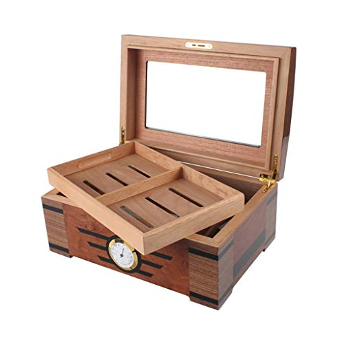$261.53 antique humidor Cigar Humidor Desktop Cigar Humidor Cigar Box, Large Capacity Can Hold 30 Cigars, Humidifier and Hygrometer Cigar Cabinet Glass Sunroof Cigarette Box, Professional Storage Cigar Double Layer Men's Gif 2019