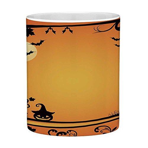 Funny Coffee Mug with Quote Vintage Halloween 11 Ounces Funny Coffee Mug Halloween Themed Image Eerie Atmosphere Gravestone Evil Pumpkin Moon Decorative Orange Black -