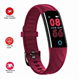 Fitness Trackers - Heart Rate Monitor Smartwatch with Aerobic Exercise Indicator - 120 Feet Waterproof Pedometer Calorie Counter Smart Sport Bracelet - Smart Wristband with Sleep Monitor