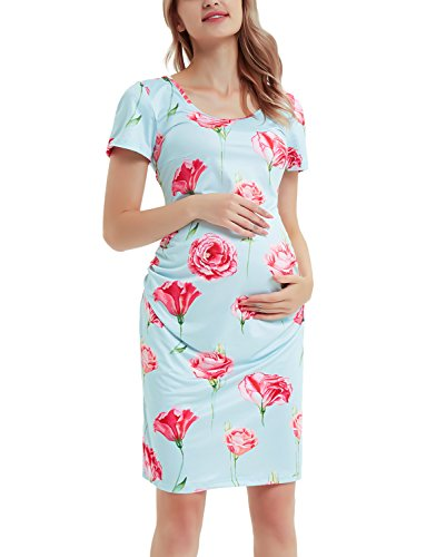 Shirred Short Dress Cocktail Dress - GINKANA Summer Maternity Bodycon Dress Casual Short Sleeves Ruched Sides Knee Length Pregnancy Dress ...