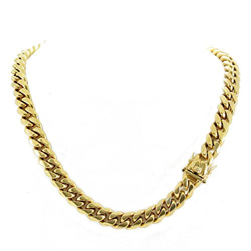 (Harlembling Men's Miami Cuban Link Chain 14k 18k Yellow Gold White Or Rose Gold Plated Stainless Steel 8-18mm Thick (18k Yellow Gold 12mm,)