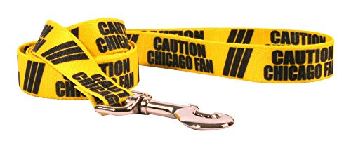 Yellow Dog Design Caution Chicago Fan Dog Leash with Easy Grip Comfort Grip Handle, 1'' Wide