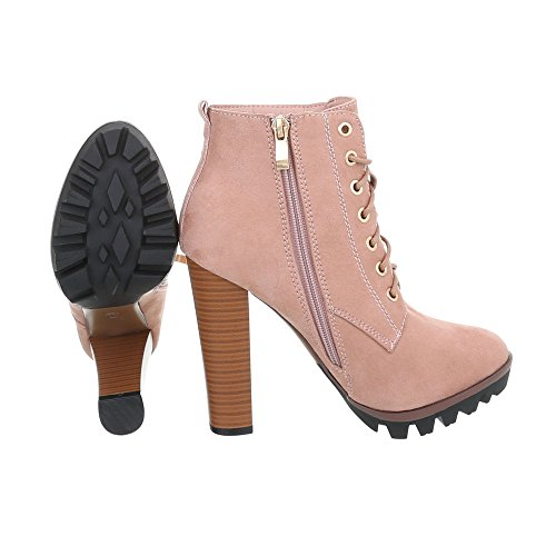 Ital-Design Women's Boots Stiletto Heeled Ankle Boots Pink 118-1-1 zqWa1Gp