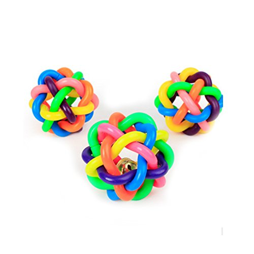 Naisidier Dog Chew Knot Ball Woven Braided Rainbow Bouncy Rubber Toy with Jingle Bell Inside for Pet Training and Teeth Cleaning Toy Suitable for Dogs Cats