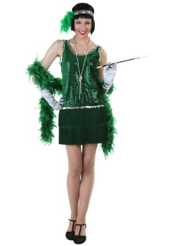 Auntie Em Costumes (Sequin & Fringe Green Flapper Costume Plus 4X)