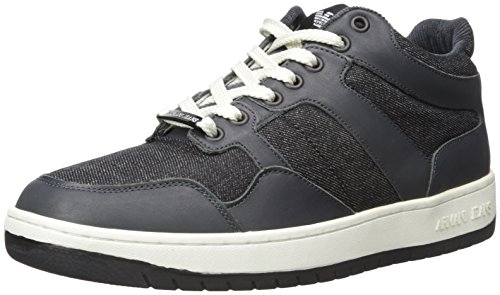 Armani Jeans Men's Denim and Leather Fashion Sneaker - Bl...