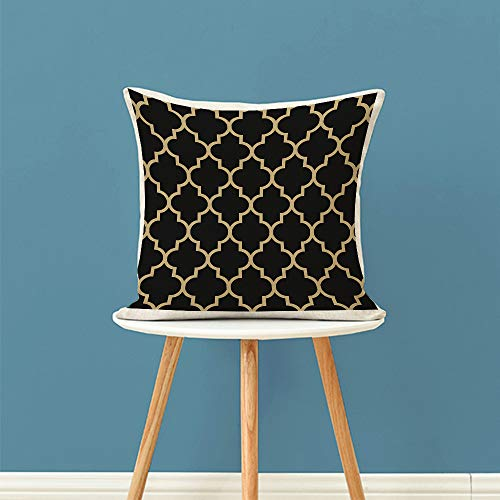 """oFloral Geometric Throw Pillow Covers Maroccan Mosaic Tiles Ethnic Ancient Gold Trellis Decorative Square Pillow Case 18""""X18"""" Pillowcase Home Decor for Sofa Bedroom Livingroom"""