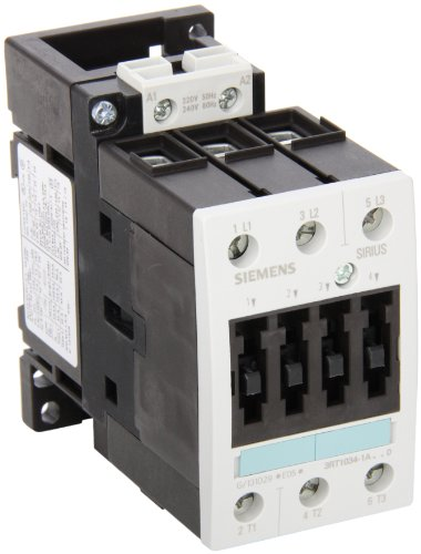 Siemens 3RT10 34-1AP60 Motor Contactor, 3 Poles, Screw Terminals, S2 Frame Size, 240V at 60Hz and 220V at 50Hz AC Coil Voltage Voltage