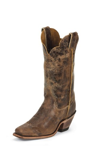 Justin Boots Women's Bent Rail Riding Boot, Tan Road, 9 B US (Justin Ladies Western Cowboy Boots)