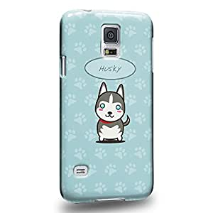 Case88 Premium Designs Art Collections Hand Drawing Cartoon puppy husky Carcasa/Funda dura para el Samsung Galaxy S5