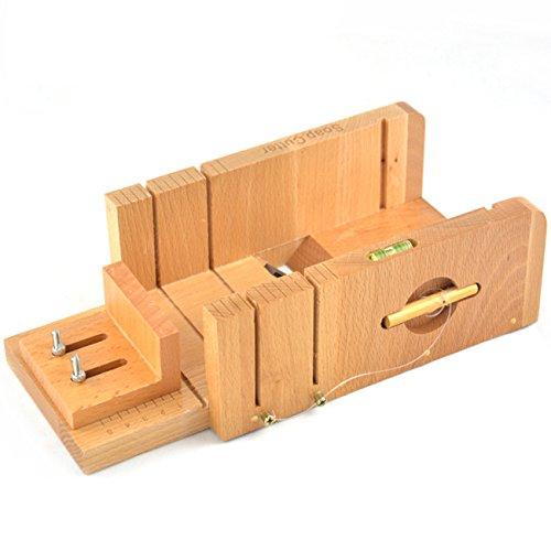 Ogrmar Multi-function Practical Adjustable Bamboo Soap Cutter Soap Making Tools with Soap Beveler / Planer Set (Brown)