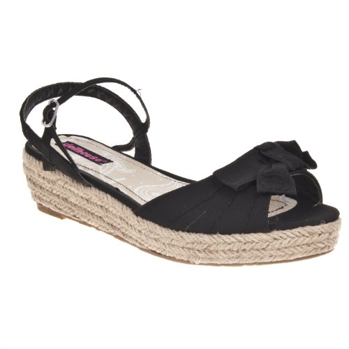 Bamboo Womens Quiche Bow-detail Wedge Sandal Black
