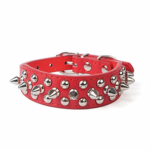 Pet Dogs Collar,Studded Spiked Rivet Adjustable Length Buckle Fashion Neck Strap (L, Red)