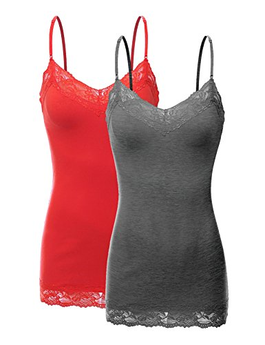 Bozzolo XT1004L Pack Ladies Adjustable Spaghetti Strap Lace Trim Cami Tank Top 2Pack-HE.CHC/Red -