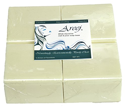Areej Hypo-Allergenic Biodegradable White Glycerin Soap Base made with 100% Pure Natural Glycerin - 2 Pounds