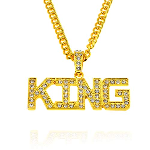 sameno New Hip Hop Pendant European and American Trend Men's King Letter Necklace (Gold)