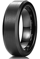 King Will Mens 6mm Black Tungsten Wedding Band Ring Matte Finish Center Polished Edge Comfort Fit