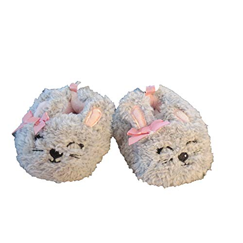 Childrens/Boys/Girls Cute Warm Plush Grey Bunny Indoor House Fuzzy Slipper/Shoes Costume (Infant/Toddler/Little Kid) (4 M US Toddler) ()