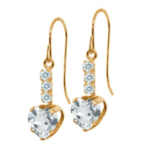 2.13 Ct Heart Shape Sky Blue Topaz White Sapphire 14K (14k Gold Heart Shape)