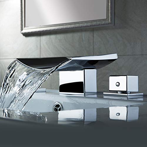 AUXO Grop Contemporary Two Handle Waterfall Widespread Bathroom Sink Faucet Three holes in Polished Chrome, Lavatory (Waterfall Faucet Bathroom)