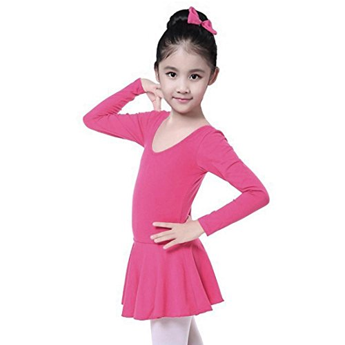Skirt Skating Patterns (Fineser Toddler Little Girl's Long Sleeve Leotard Dancewear Dress Gymnastics Ballet Costume (Hot Pink, 5T))