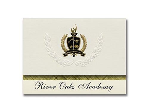 Signature Announcements River Oaks Academy (Westlake Village, CA) Graduation Announcements, Pack of 25 with Gold & Black Metallic Foil seal, 6.25