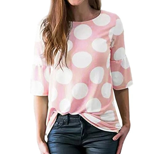 Howstar Womens Casual Cute T-Shirt Polka Dot Printed Shirts Bell Sleeve Blouse Loose Summer Beach Ladies Tops