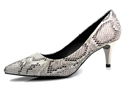Forever Collection Womens Sadie Sanzi-2 Pumps Mid to Low Heel Slip On Shoes, Snake, 8 (Black Pumps Print Snake)