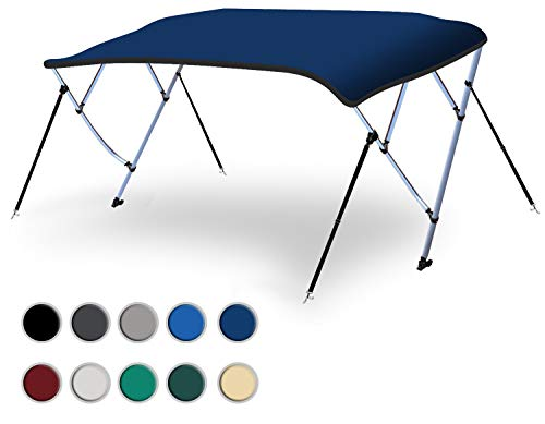 Naviskin 10 Optional Colors Available 3-4 Bow 13 Different Size Bimini Top Cover Includes Mounting Hardwares,Storage Boot with 1 Inch Aluminum Frame (Navy Blue, 4 Bow 8'L x 54
