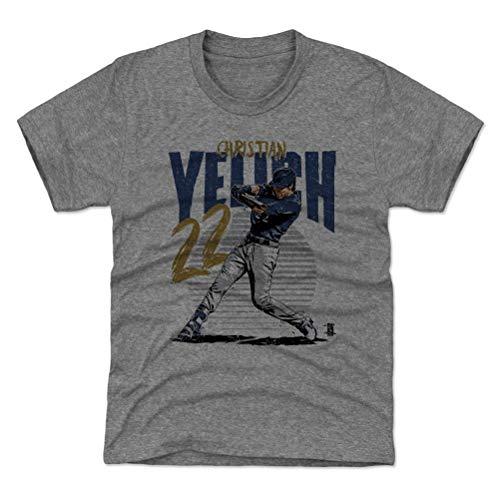 500 LEVEL Milwaukee Baseball Youth Shirt - Kids Large (10-12Y) Tri Gray - Christian Yelich Rise B