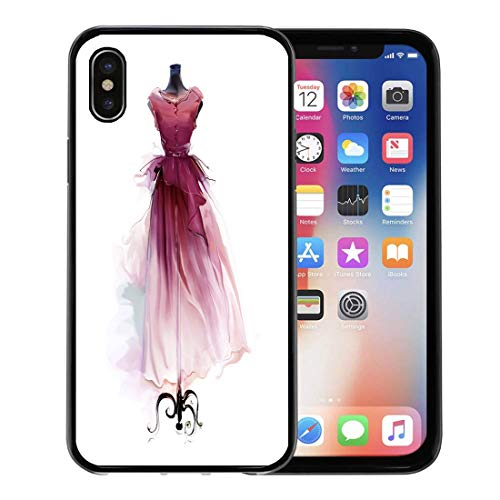 Atelier Cocktail - Semtomn Phone Case for Apple iPhone Xs case,Red Vintage Beautiful Retro Dress on Dummy Watercolor Atelier Attractive for iPhone X Case,Rubber Border Protective Case,Black
