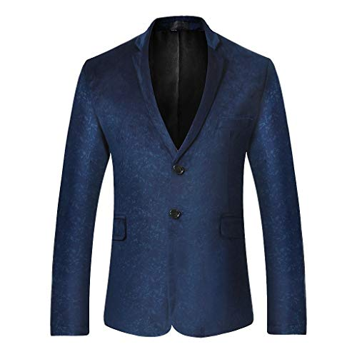 Jacket Dress Party Suit Notched Lapel Slim Fit Two Button Stylish Blazer Fit Casual Premium Blazer Jacket Mens (XL,7#Navy) -
